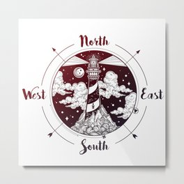 Compass Lighthouse Metal Print