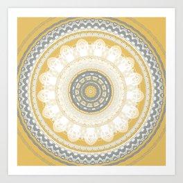 Pantone Yellow  Mandala Art Print