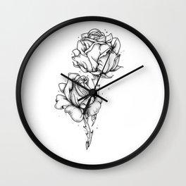 Dotwork Roses Wall Clock