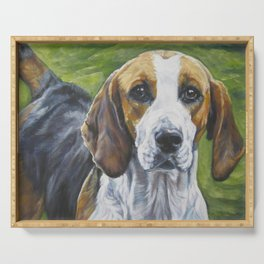 English Foxhound dog art portrait from an original painting by L.A.Shepard Serving Tray
