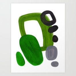 Mid Century Vintage 70's Design Abstract Minimalist Colorful Pop Art Olive Green Dark Green Grey Kunstdrucke