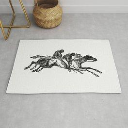 Vintage European Vintage European style engraving featuring horse racing with jockeys by Charles Sim Rug