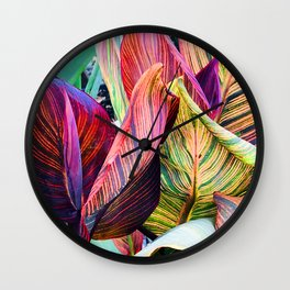 Exotic, Vibrant Colorful Leaves Art Photo Wall Clock