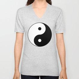 Yin and yang Symbol on red Unisex V-Neck