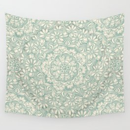 Sage Medallion with Butterflies & Daisy Chains Wall Tapestry