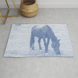 grazing horses navy tone washed out effect aesthetic wildlife art photography Rug