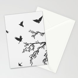 flock of flying birds on tree branch Stationery Cards