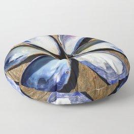 Blue and White Sea Shell Flower | Nadia Bonello Floor Pillow
