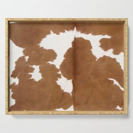 Tan and white cowhide texture Serving Tray