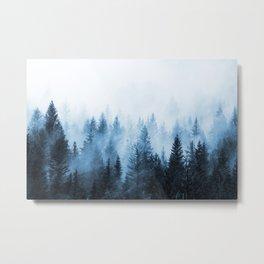 Misty Winter Forest Metal Print