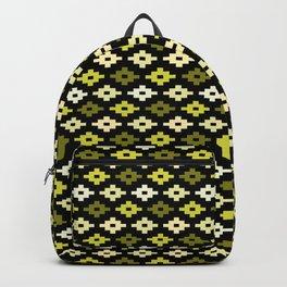 Geometric Flower Cross Stitch Appearance - Lemon Yellow On Black Backpack