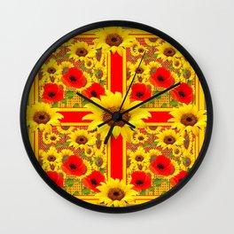YELLOW SUNFLOWERS RED POPPIES DECO ART Wall Clock