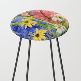Cottage Garden Delphinium and Hollyhocks Watercolor Counter Stool