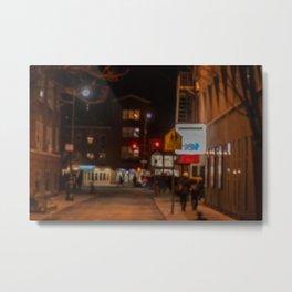 Red Traffic Light in the Night Metal Print