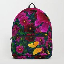 PINK COSMOS YELLOW BUTTERFLIES GARDEN ABSTRACT Backpack