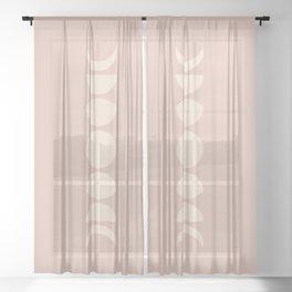 Minimal Moon Phases - Desert Rose Sheer Curtain
