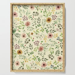 Vintage Floral Pattern Serving Tray