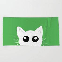 Peekaboo kitty cat Beach Towel