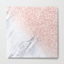 Rose Gold Sparkles White Gray Marble Luxury II Metal Print