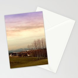 Beautiful panorama under a cloudy sky   landscape photography Stationery Cards
