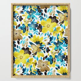 Happy Yellow Flower Collage Serving Tray