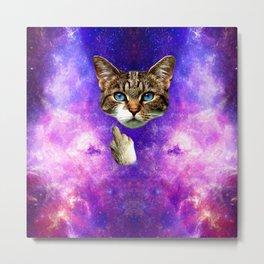 cat Fuck you finger galaxy Metal Print