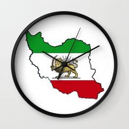 Iran Map with Iranian Flag Wall Clock