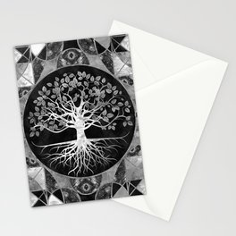 Tree of life - Gray scale Gemstone Stationery Cards