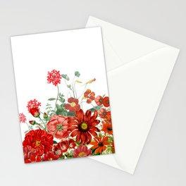 Vintage & Shabby Chic - Red Summer Flower Garden Stationery Cards
