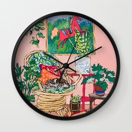 Napping Tabby Cat in Cane Chair in Pink Room with Horse Painting Wall Clock