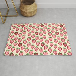 Watercolor Strawberries on Cream Rug