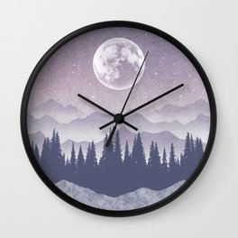 Starry Night - Moon, Mountains & Forest Wall Clock