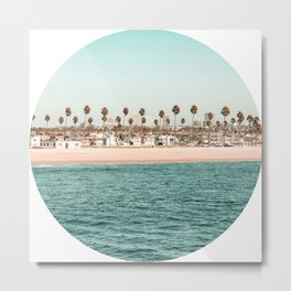Vintage Newport Beach // Circle Crop Cut Out Photography Ocean Palm Trees Teal Tropical Summer Sky Metal Print