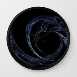 Dark Blue Heart Fractal 6 Wall Clock
