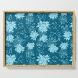 Lotus Silk, Floral Folk With Painted Pattern Flowers, Lotus Flower Seamless Pattern Background Serving Tray