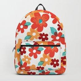 Joyful Orange Yellow Flowers, Spring Floral Art Print Backpack