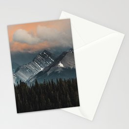 mountains forest clouds mountain range landscape Stationery Cards