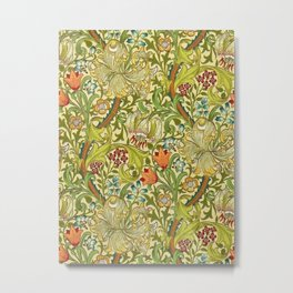 William Morris Calla Lilies, Tulips, Daffodils, & Red Poppies Textile Print Metal Print