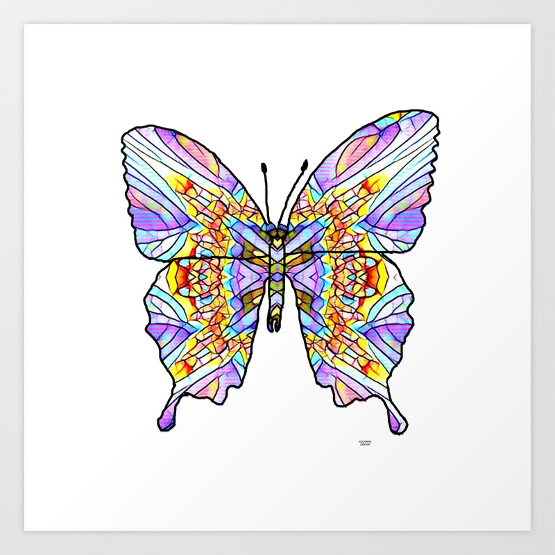 Mosaic Butterfly 1 Art Print by Aquamanofpdx PRN8103656