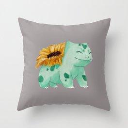 sunflower bulba Throw Pillow