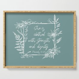 She Is Clothed Wildflower Frame Bible Verse Serving Tray