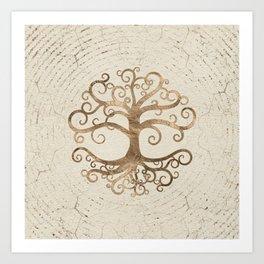 Tree of life Pastel Gold on Canvas Art Print