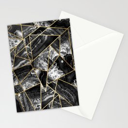 Black White Agate Black Gold Geometric Triangles Stationery Cards