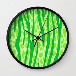 Lime Green Leopard Stripes Pattern Wall Clock