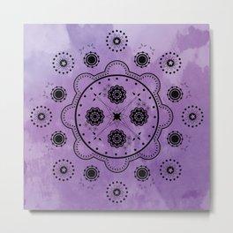 Purple Mechanical Flowers Metal Print