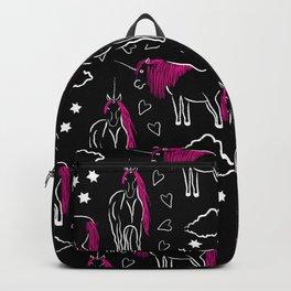 Unicorn Pink, Black & White Backpack