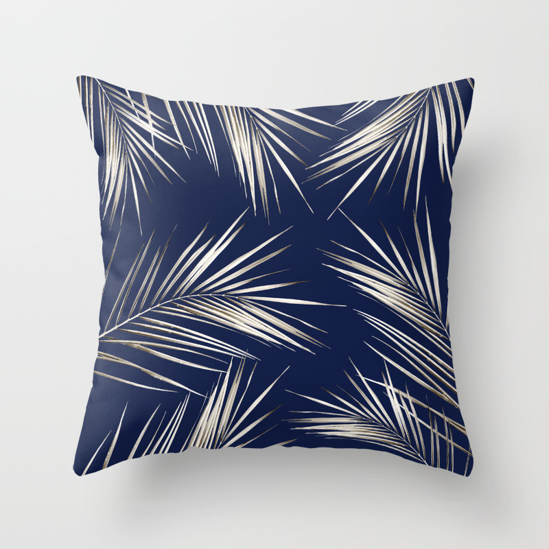 White Gold Palm Leaves On Navy Blue Throw Pillow By Followmeinstead Society6