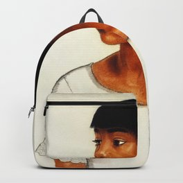 African American Masterpiece ''Harlem Girl' portrait painting by Winold Reiss Backpack