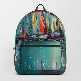 Boats in the harbor Backpack