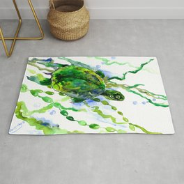 Green River Turtle Olive green Wall art Rug
